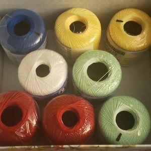 8 Various Colors Crochet Thread Size 10 Set
